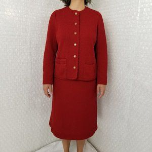 Vintage 1960s Tannel Knits red blazer & skirt suit